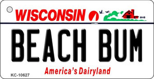Beach Bum Wisconsin License Plate Novelty Wholesale Key Chain KC-10627
