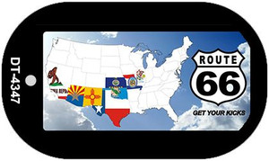 RT 66 8 Flags and Clouds Novelty Wholesale Dog Tag Necklace DT-4347