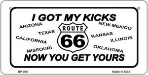 RT 66 I Got My Kicks Novelty Wholesale Bicycle License Plate BP-096