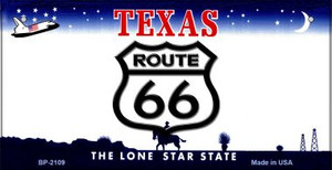 RT 66 Texas Novelty Wholesale Bicycle License Plate BP-2109