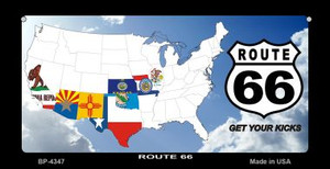 RT 66 8 Flags and Clouds Novelty Wholesale Bicycle License Plate BP-4347