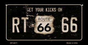 Route 66 Get Your Kicks Novelty Wholesale Bicycle License Plate BP-4671