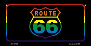 Route 66 Rainbow Flag Novelty Wholesale Bicycle License Plate BP-4728