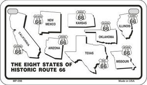RT 66 Historic Eight Novelty Wholesale Motorcycle License Plate MP-098