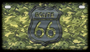 RT 66 Camo Novelty Wholesale Motorcycle License Plate MP-1303