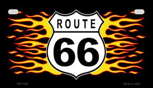RT 66 Flame Novelty Wholesale Motorcycle License Plate MP-1254