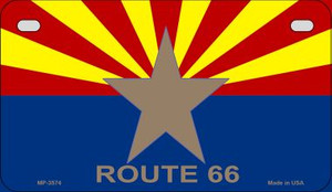Arizona Flag with Route 66 Novelty Wholesale Motorcycle License Plate MP-3574