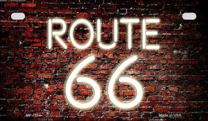 Route 66 Neon Brick Novelty Wholesale Motorcycle License Plate MP-7854