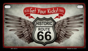 Route 66 Wings Get Your Kicks Novelty Wholesale Motorcycle License Plate MP-8574