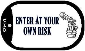 Enter At Your Own Risk Novelty Wholesale Dog Tag Necklace DT-425