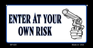 Enter At Your Own Risk Novelty Wholesale Bicycle License Plate BP-425