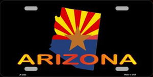 Arizona Flag Filled State Outline Wholesale Metal Novelty License Plate