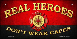 Real Heroes Fire Novelty Wholesale Bicycle License Plate BP-8578