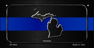 Michigan Thin Blue Line Novelty Wholesale Bicycle License Plate BP-8904