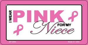 I Wear Pink For My Niece Novelty Wholesale Bicycle Plate BP-2904