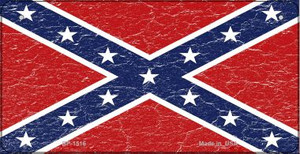 Confederate Flag Distressed Novelty Wholesale Bicycle Plate BP-1516