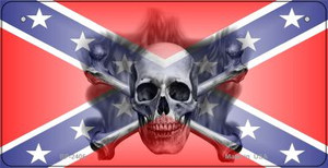 Confederate Skull Novelty Wholesale Bicycle Plate BP-2406