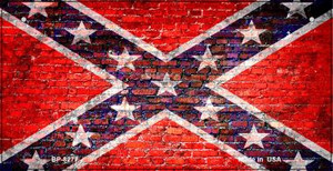 Confederate Flag Brick Wall Novelty Wholesale Bicycle Plate BP-8277