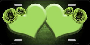 Hearts Over Roses In Lime Green Wholesale Novelty License Plate LP-11441