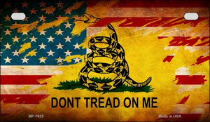Don't Tread On Me AM Flag Novelty Wholesale Motorcycle License Plate MP-7925