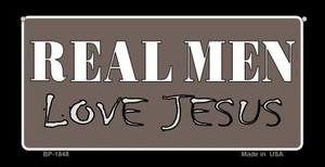 Real Men Love Jesus Novelty Wholesale Bicycle License Plate BP-1848