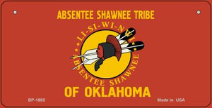 Absentee Shawnee Tribe Novelty Wholesale Bicycle License Plate BP-1865
