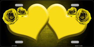 Hearts Over Roses In Yellow Wholesale Novelty License Plate LP-11447