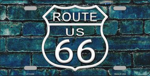 Route 66 Blue Brick Wall Wholesale Novelty License Plate LP-11456
