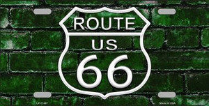 Route 66 Green Brick Wall Wholesale Novelty License Plate LP-11457