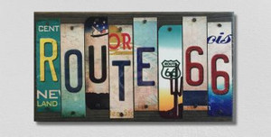 Route 66 Wholesale Novelty License Plate Strips Wood Sign