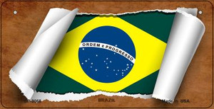 Brazil Flag Scroll Wholesale Novelty Bicycle Plate BP-9068