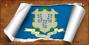 Connecticut Flag Scroll Wholesale Novelty Bicycle Plate BP-9013