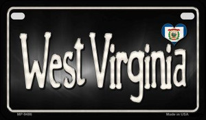 West Virginia Flag Script Wholesale Novelty Motorcycle Plate MP-9486