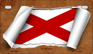 Alabama Flag Scroll Wholesale Novelty Motorcycle Plate MP-9008