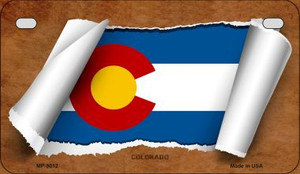 Colorado Flag Scroll Wholesale Novelty Motorcycle Plate MP-9012