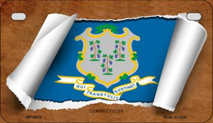 Connecticut Flag Scroll Wholesale Novelty Motorcycle Plate MP-9013