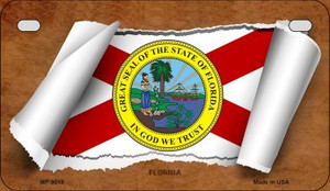 Florida Flag Scroll Wholesale Novelty Motorcycle Plate MP-9015