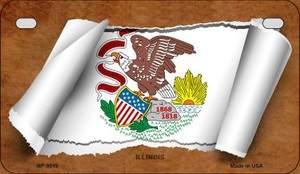 Illinois Flag Scroll Wholesale Novelty Motorcycle Plate MP-9019