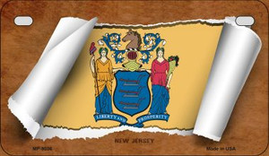 New Jersey Flag Scroll Wholesale Novelty Motorcycle Plate MP-9036