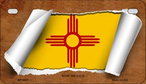 New Mexico Flag Scroll Wholesale Novelty Motorcycle Plate MP-9037