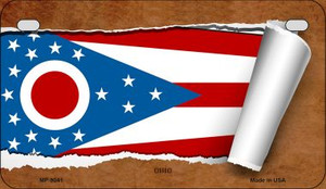 Ohio Flag Scroll Wholesale Novelty Motorcycle Plate MP-9041