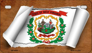 West Virginia Flag Scroll Wholesale Novelty Motorcycle Plate MP-9054