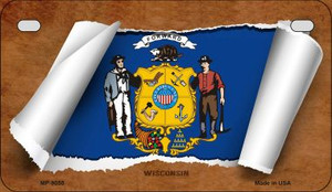 Wisconsin Flag Scroll Wholesale Novelty Motorcycle Plate MP-9055