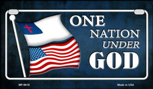 One Nation Under God Flag Wholesale Novelty Motorcycle Plate MP-9619