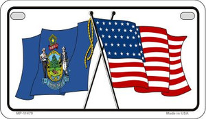 Maine / USA Flag Wholesale Novelty Motorcycle Plate MP-11479