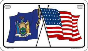 New York / USA Flag Wholesale Novelty Motorcycle Plate MP-11492