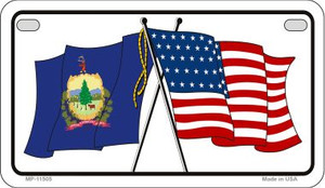 Vermont / USA Flag Wholesale Novelty Motorcycle Plate MP-11505