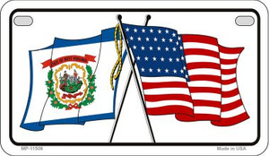 West Virginia / USA Flag Wholesale Novelty Motorcycle Plate MP-11508