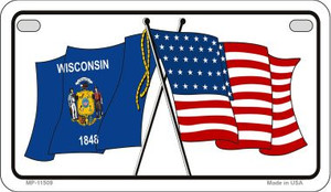 Wisconsin / USA Flag Wholesale Novelty Motorcycle Plate MP-11509
