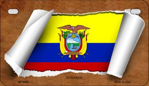 Ecuador Flag Scroll Wholesale Novelty Motorcycle Plate MP-9062